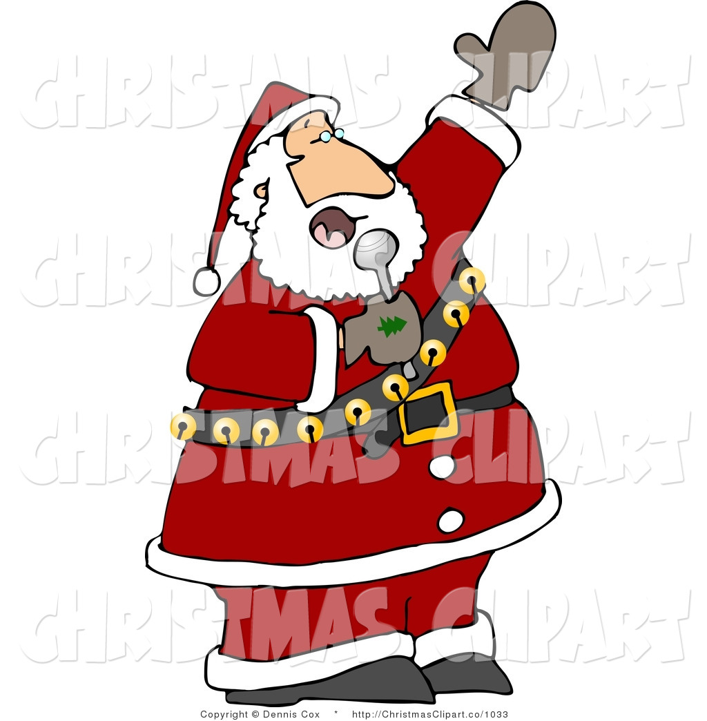 Clipart Of Santa Singing Karaoke Christmas Music Into A Microphone