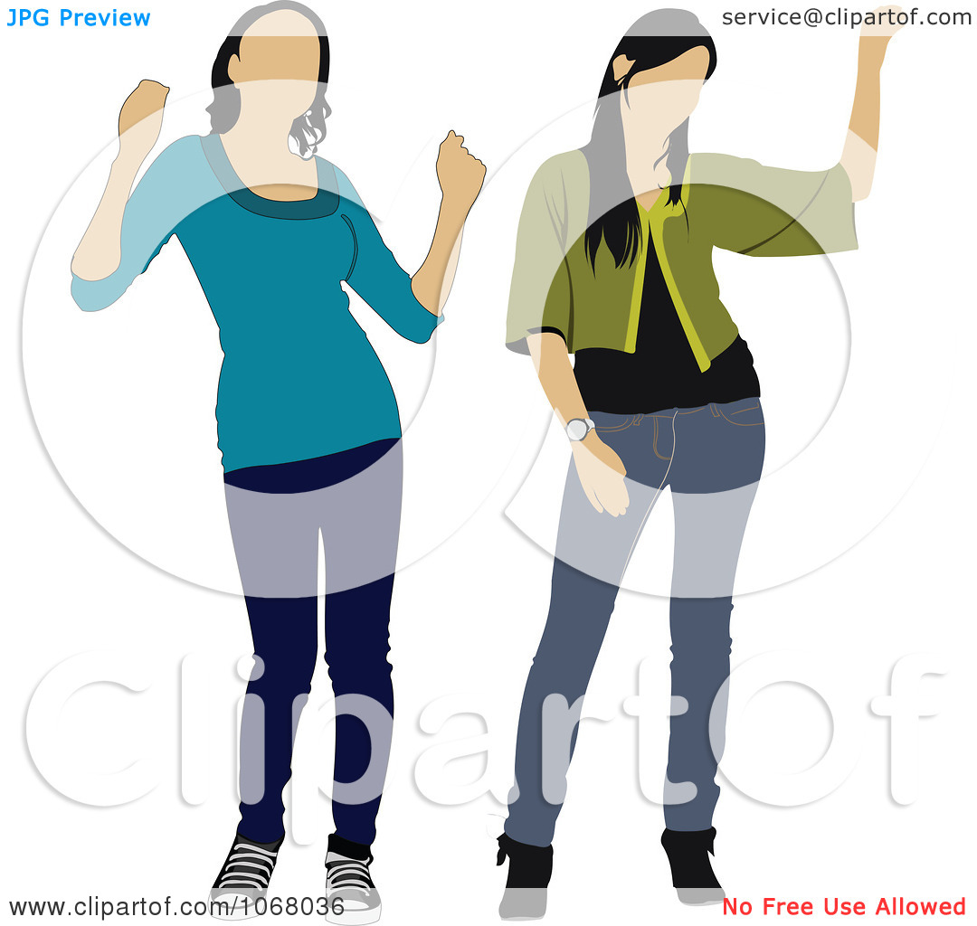 Clipart Two Waving Young Women   Royalty Free Vector Illustration By