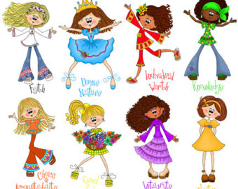 Cute Young Women Value Girls   Digi Tal Clipart   Instant Downloadable