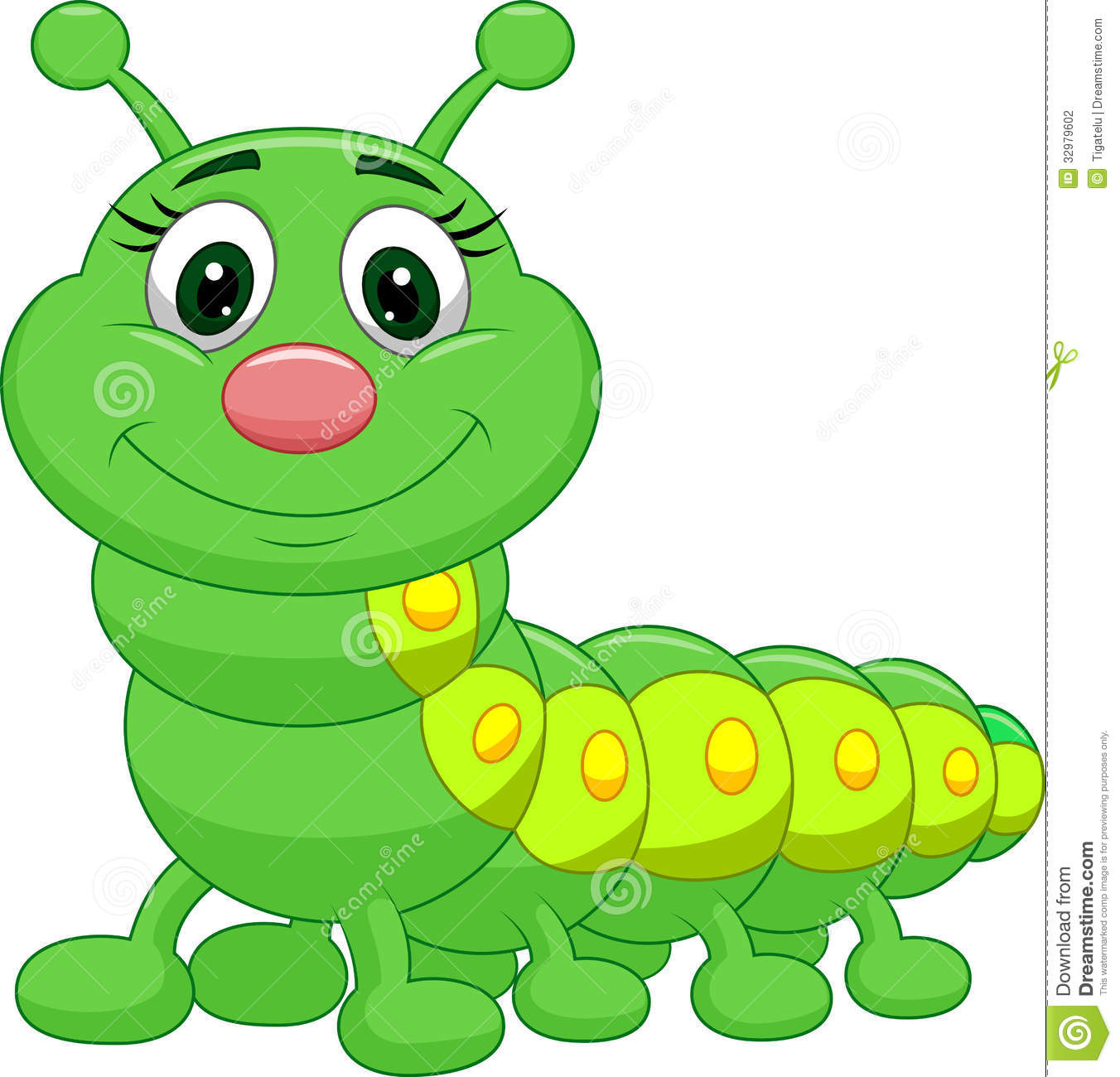 Illustration Of Cute Green Caterpillar Cartoon