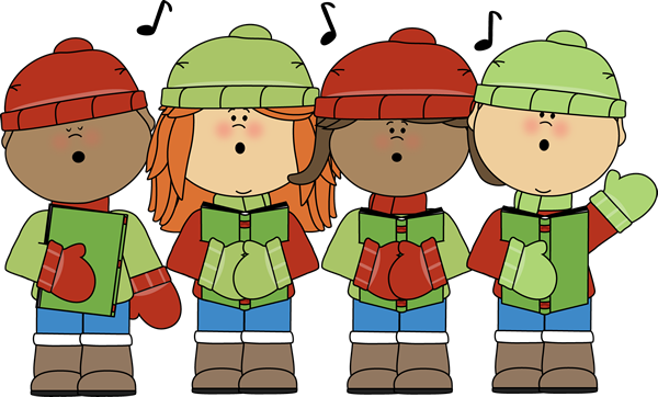 Kids Signing Christmas Carols Clip Art   Kids Signing Christmas Carols