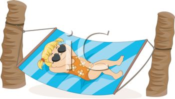 Little Girl Relaxing In A Hammock   Royalty Free Clip Art Illustration