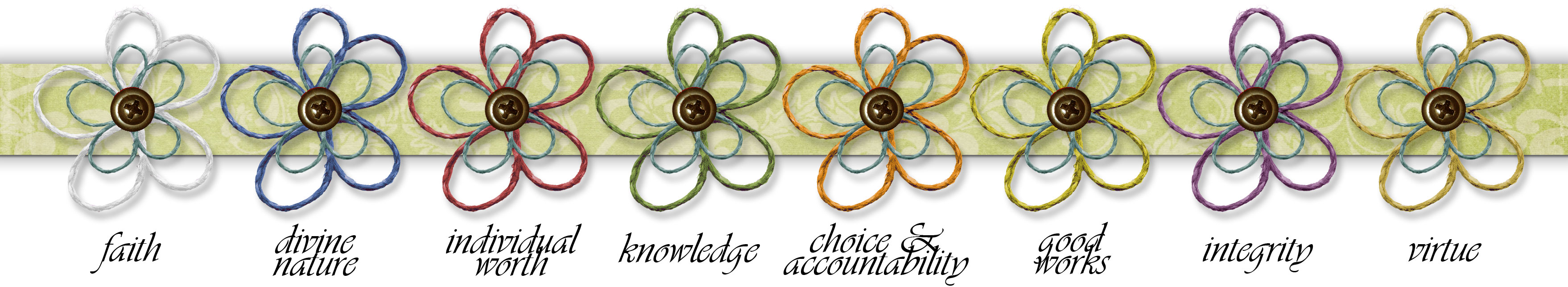 Mormon Share   Yw Elements  Value Flowers On Ribbon