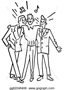Of A Group Of Three Men Singing Together  Clipart Gg62248406   Gograph