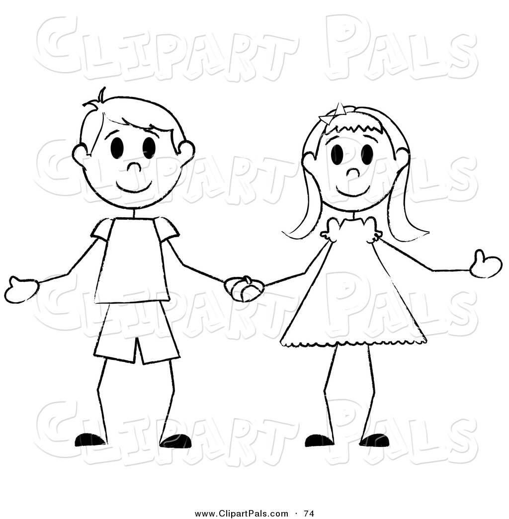 Pal Clipart Of A Happy Black And White Stick Boy And Girl Holding