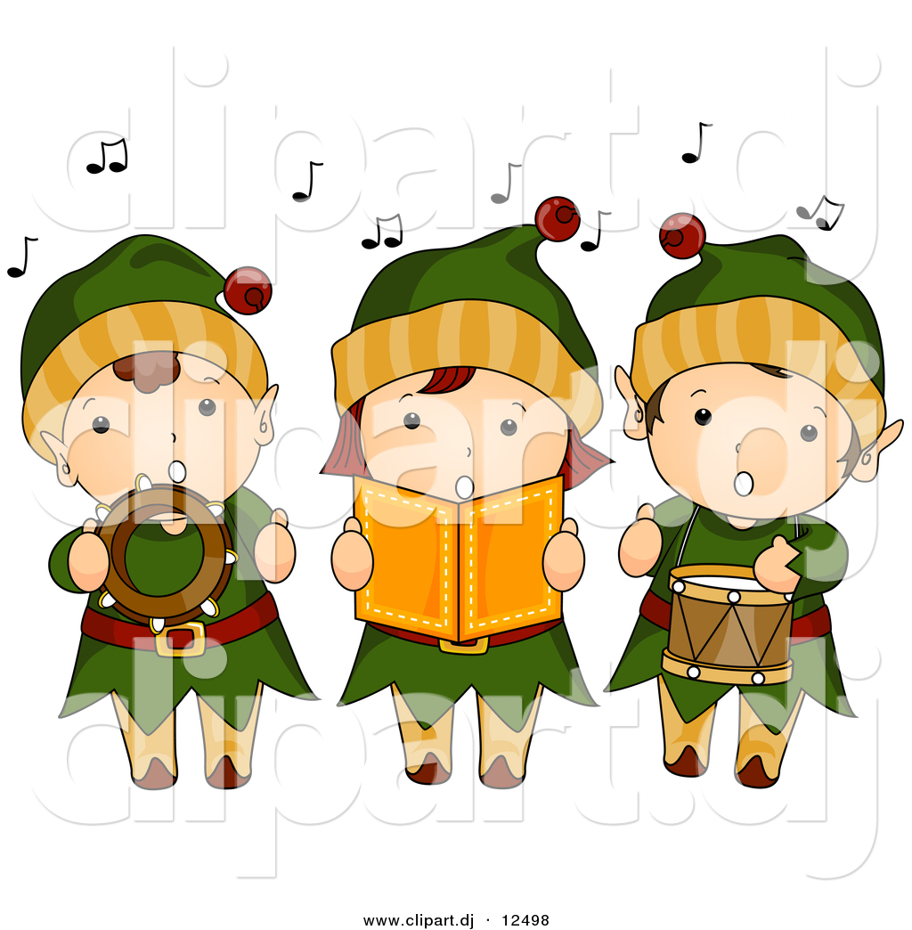 Vector Clipart Of Cartoon Kids Singing Christmas Music While Dressed