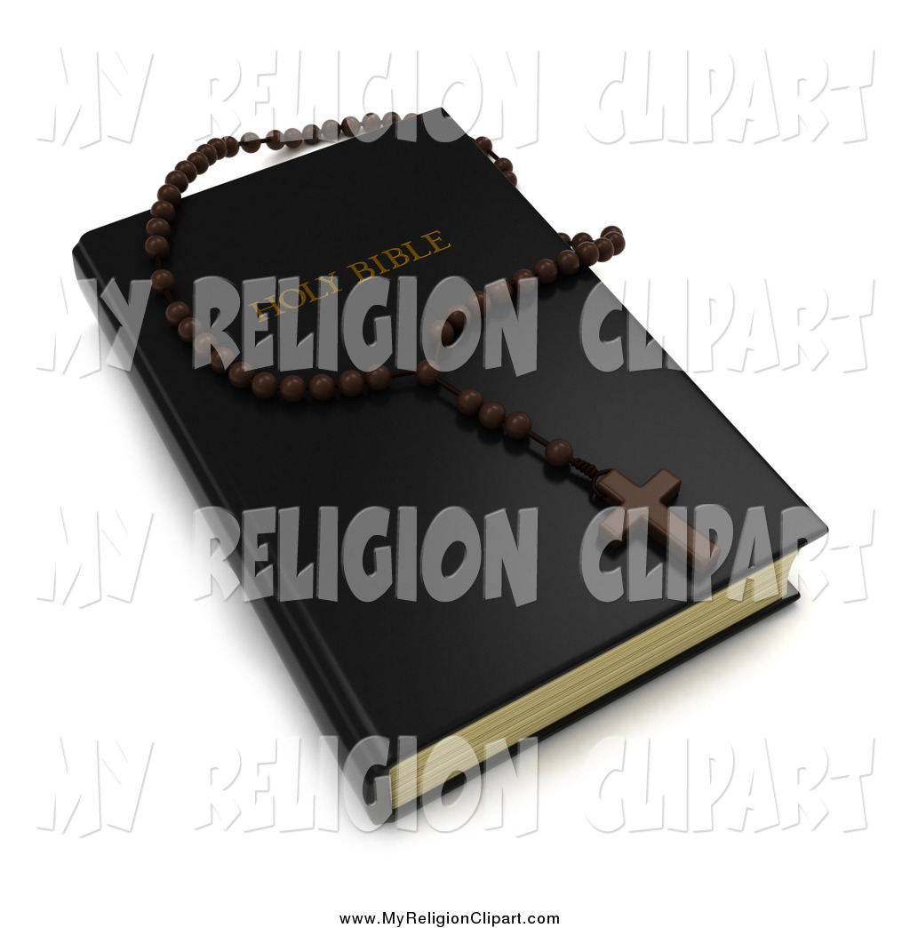 Art Of A 3d Holy Bible And Rosary Cross And Beads By Bnp Design Studio