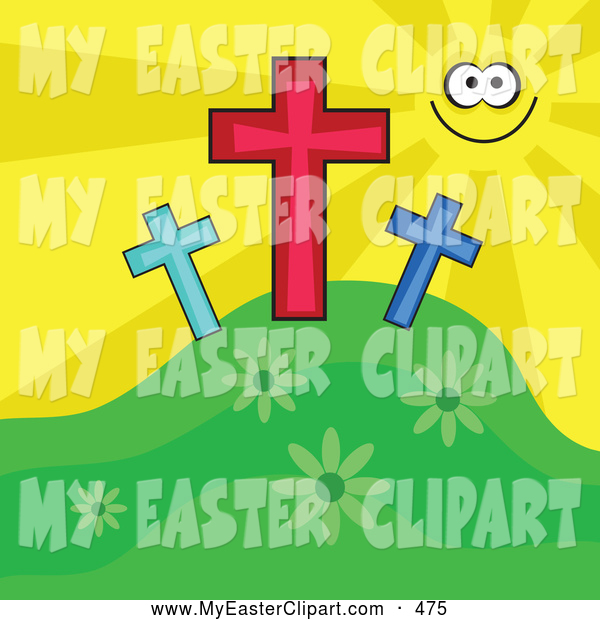 Clip Art Of A Happy Yellow Sun Smiling And Shining On Three Crosses On