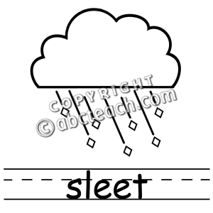 Clip Art  Weather Icons  Sleet B W Labeled   Preview 1