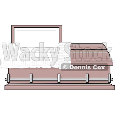 Clipart Empty Pink Burial Coffin Casket   Royalty Free Vector