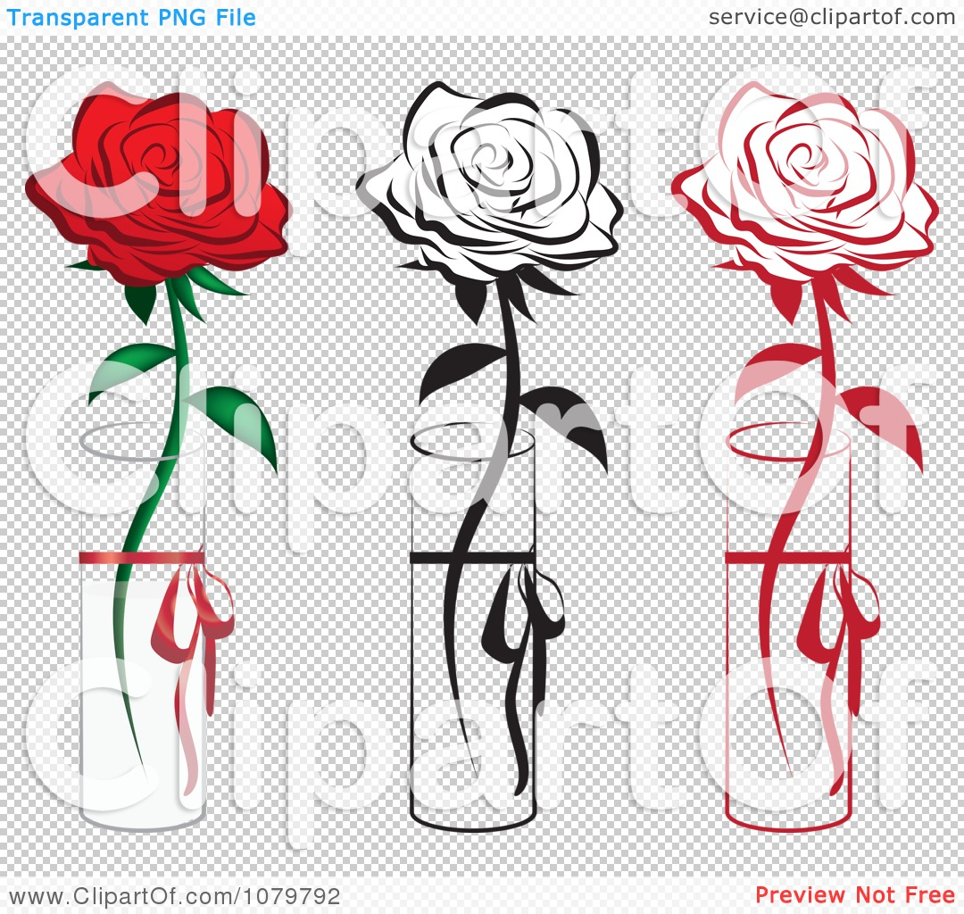 Clipart Set Of Red And Black Single Roses In Vases   Royalty Free