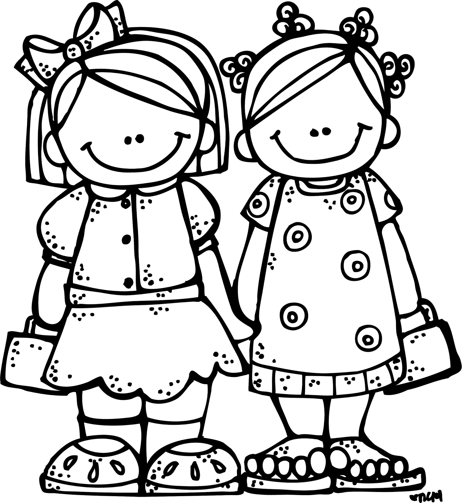 Sisters Black And White Clipart - Clipart Kid
