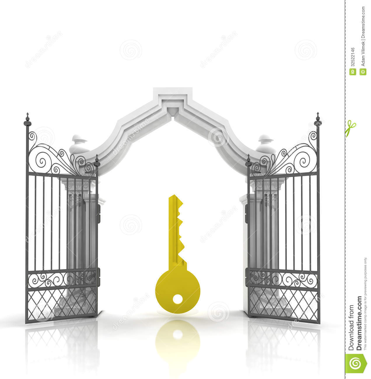 Open Baroque Gate With Golden Key Royalty Free Stock Image   Image