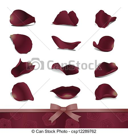 Petals Burgundy Rose Bow Ribbon Csp12289762   Search Clipart
