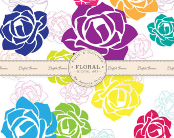 Premium Rose Vectors Roses Clip Art Rose Clipart In Fun Bright