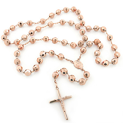 Rosary Necklaces   14k Rose Gold Rosary Beads Chain Necklace 8mm 30in