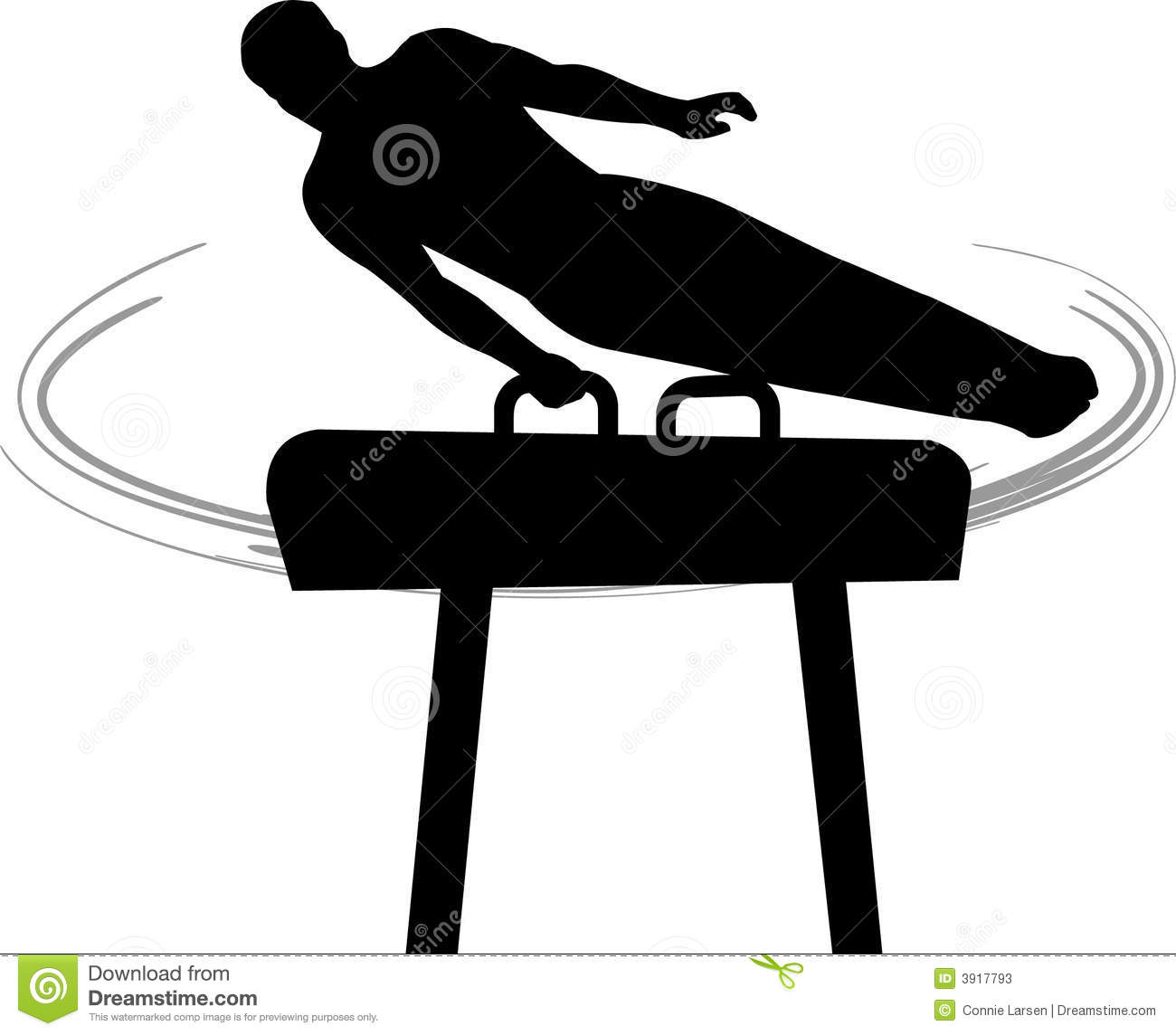 Silhouette Illustration Of A Male Gymnast Performing A Routine On The