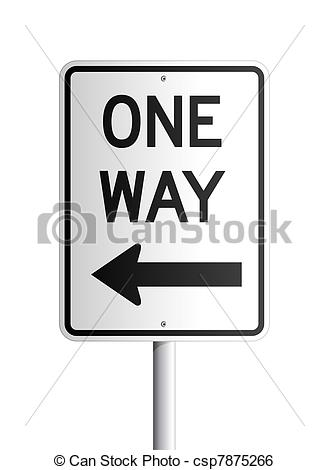 Stock Illustration Of One Way Board   Isolated One Way Black And White