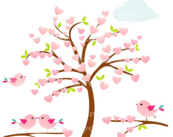 Tree Clip Art Heart Tree And Birds  Tree Flowers Birds Instant