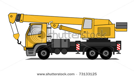 Vector Clip Art Illustration Of A Truck With A Mobile Crane On It