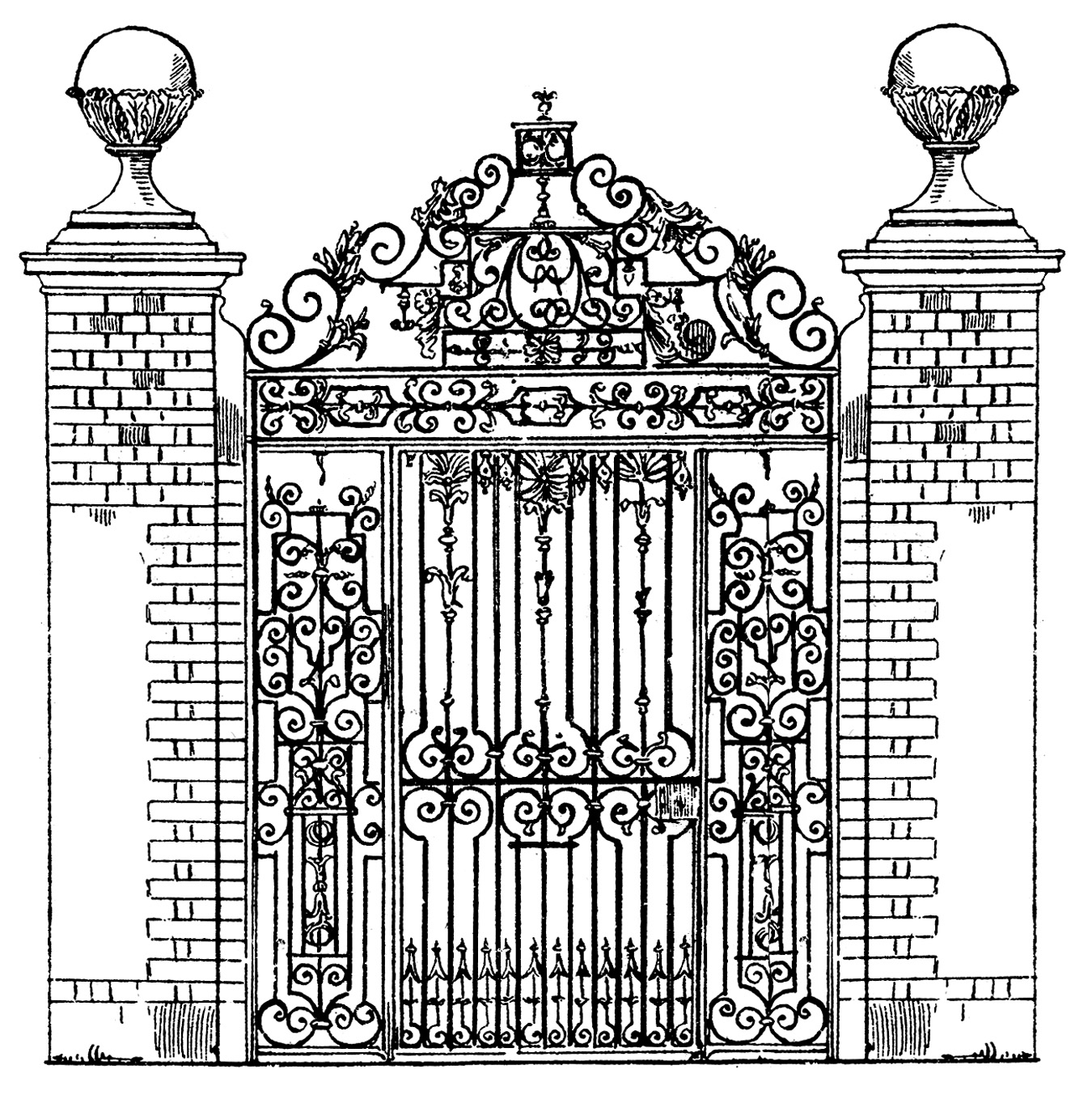 Vintage Clip Art   Ornate Iron Gate   Scrolls   The Graphics Fairy