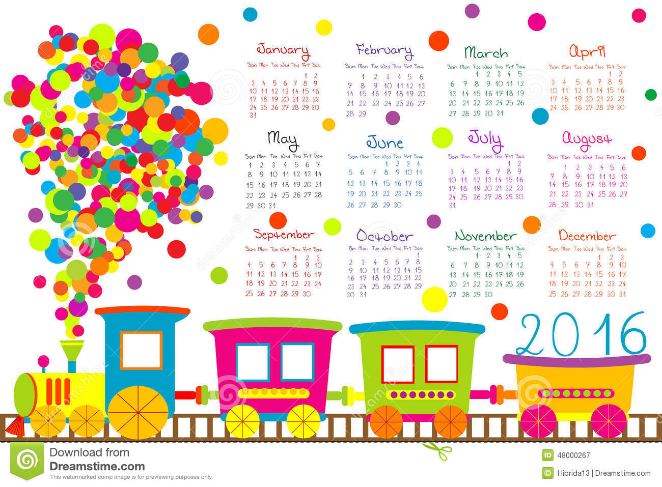 2016 Calendar With Cartoon Train For Kids On White Background
