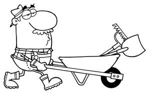And White Clip Art Of A Man Pushing A Wheelbarrow Full Of Yard Tools