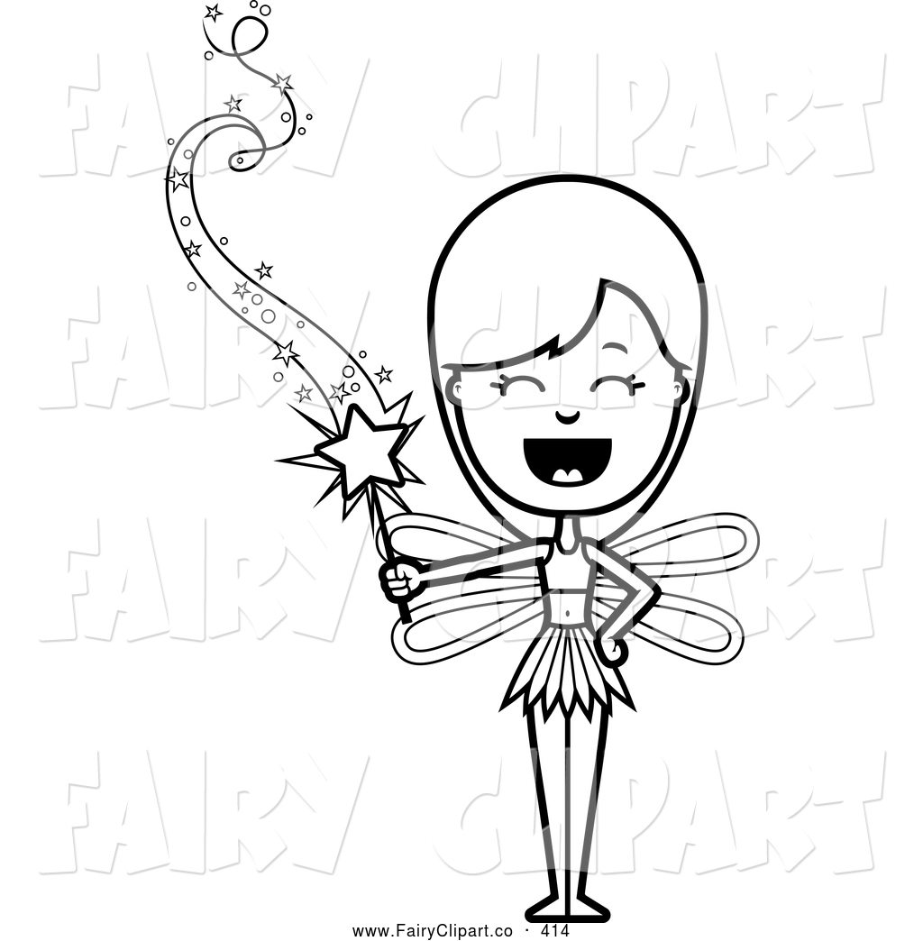 Fairy Black And White Clipart - Clipart Suggest