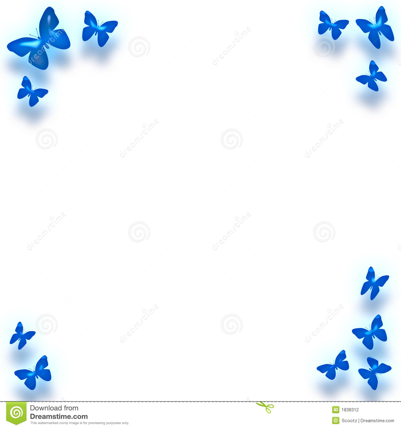 Blue Butterfly Border Around Note Paper Backgroundstationarycard