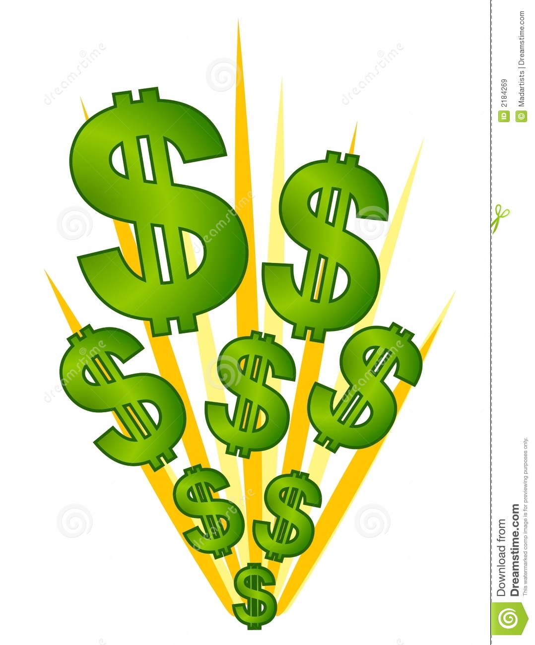 Cash And Money Illustration Of Dollar Signs Exploding Representing