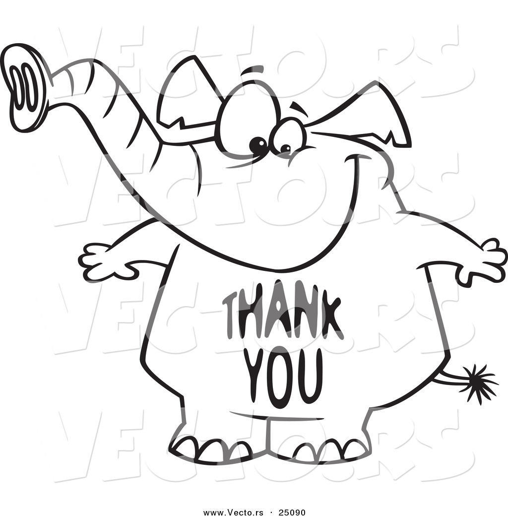 Clip Art Free Thank You Vector Of A Cartoon Elephant With A Thank You