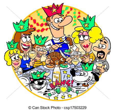 Clip Art Of Family Christmas Dinner   Cartoon Of Family Gathered For