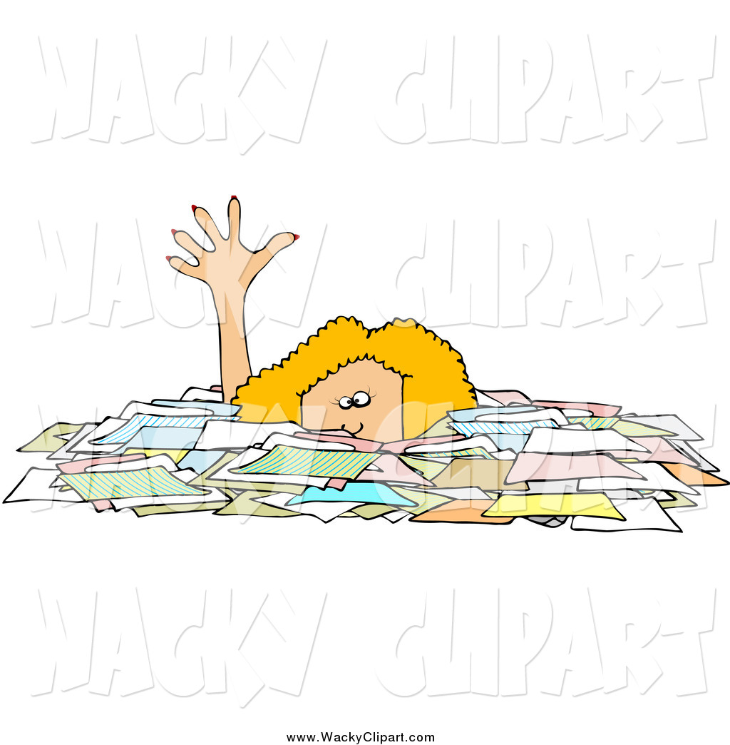 Clipart Of A Blond Caucasian Businesswoman Reaching Up While Drowning