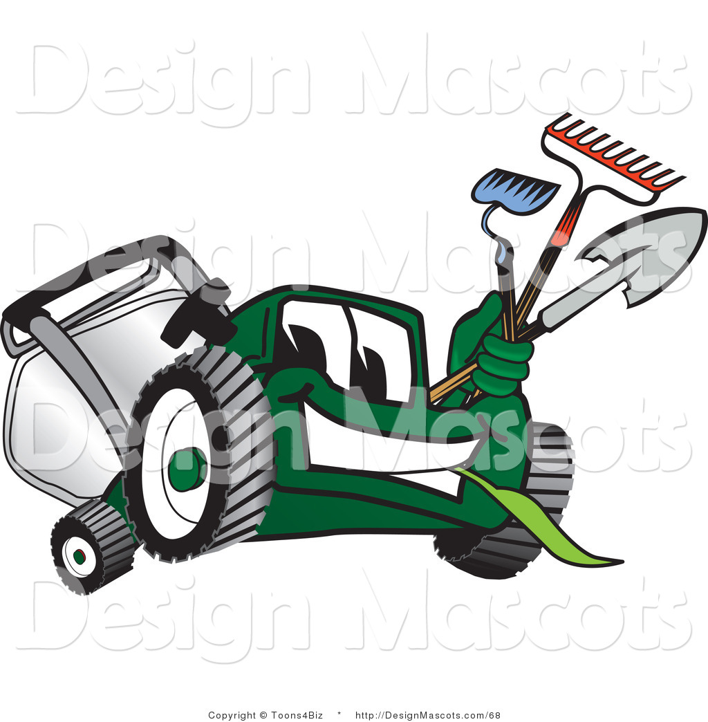 Clipart Of A Green Lawn Mower Mascot Carrying Garden Tools   Royalty