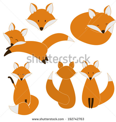 Cute Fox Clipart Cute Fox Set   Stock Vector