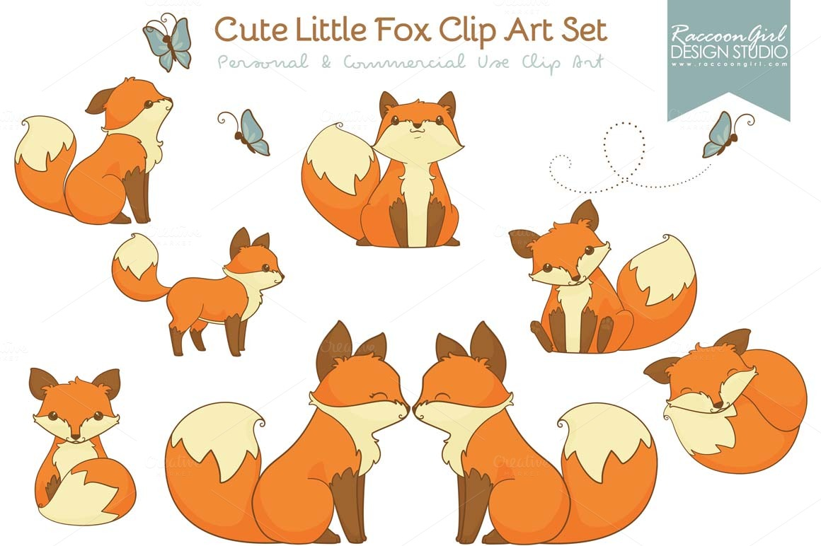 Cute Little Fox Clip Art Set   Illustrations On Creative Market