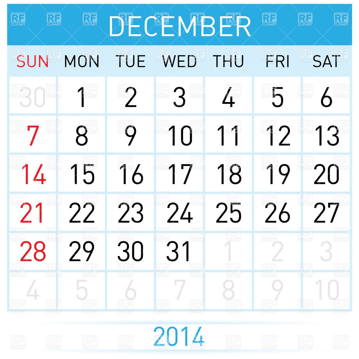 December 2014 Month Calendar Download Royalty Free Vector Clipart