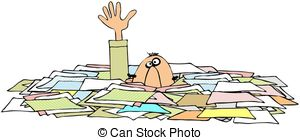 Drowning In Paperwork   This Illustration Depicts A Man With