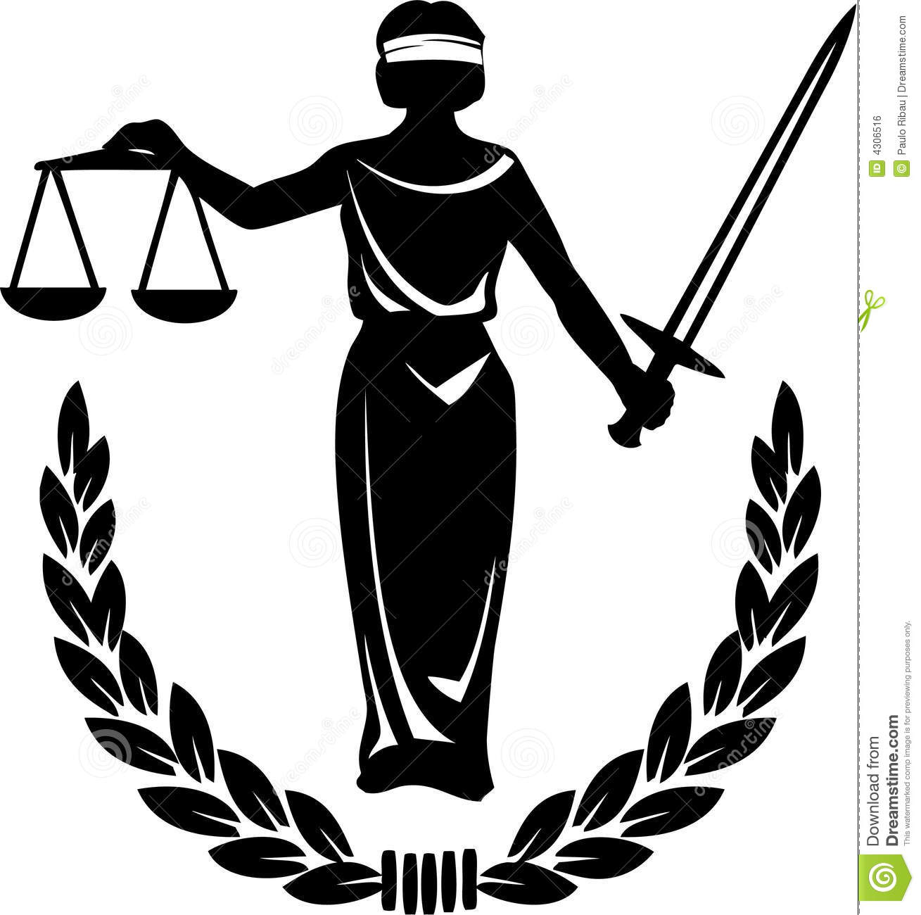 Illustration Of A Silhouette Holding The Scales Of Justice