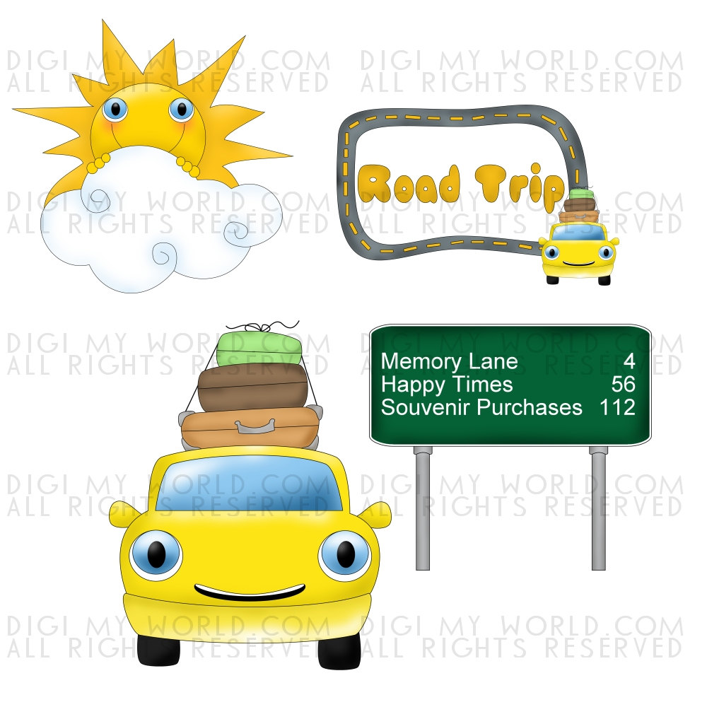 Items Similar To Road Trip   Summer Travel   Car Highway Clip Art On
