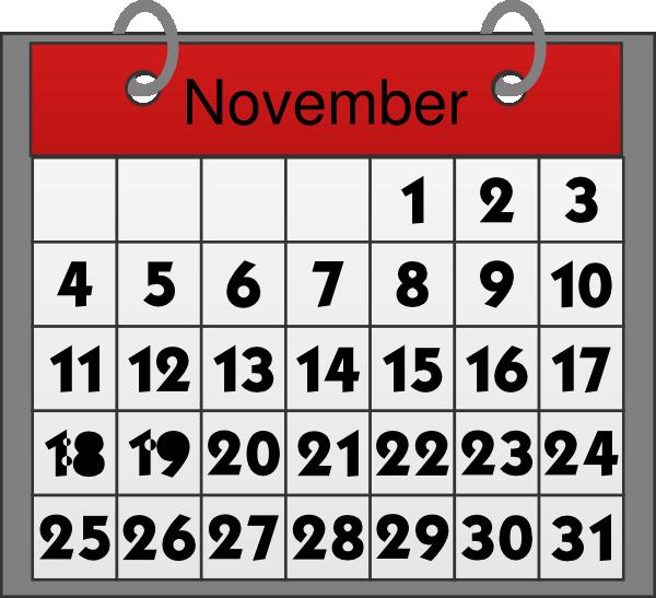 November Calendar Clip Art At Clker Com   Vector Clip Art Online
