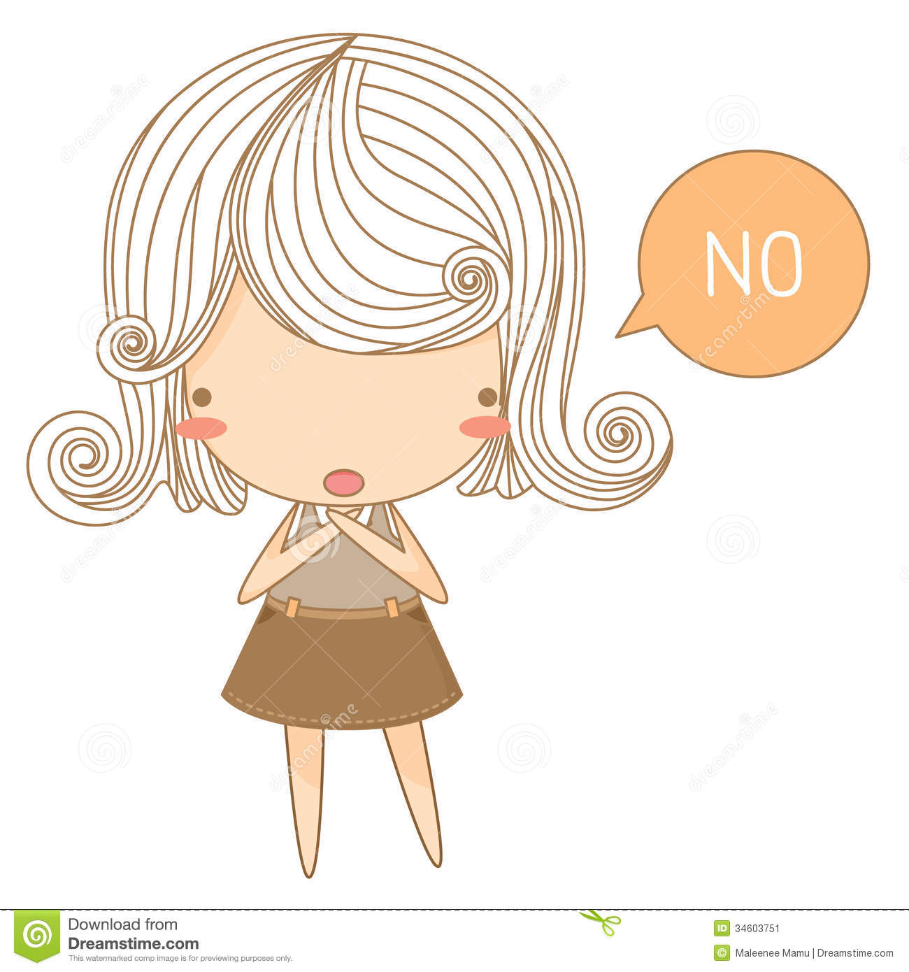 The Illustration Of Little Girl Say No Mr No Pr No 2 737 4