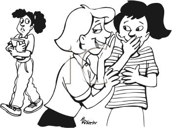 White Cartoon Of Two Girls Gossiping About Another Girl Clipart Image