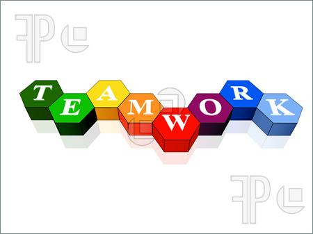 3d Colour Cubes Hexahedrons With White Letters   Teamwork Word Text