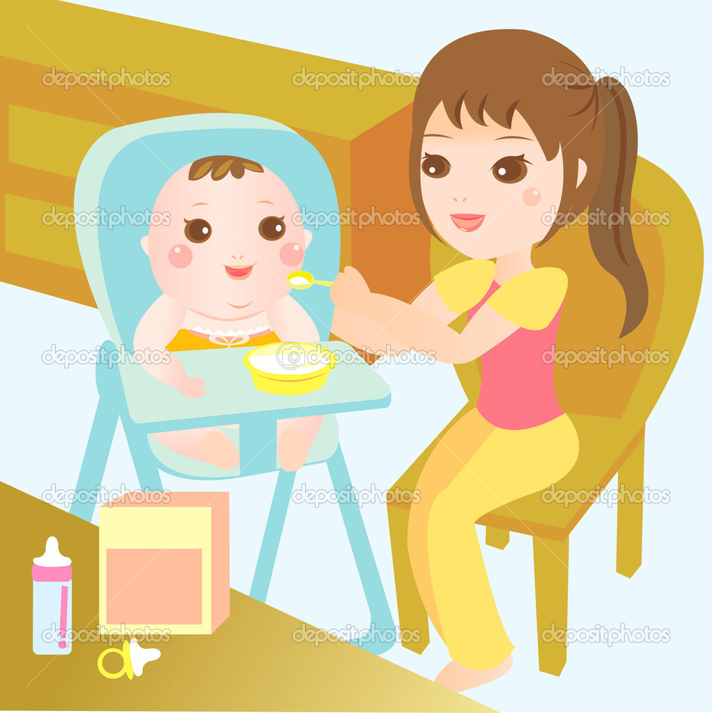 Baby Food Clipart Mom Feeding Food To Baby