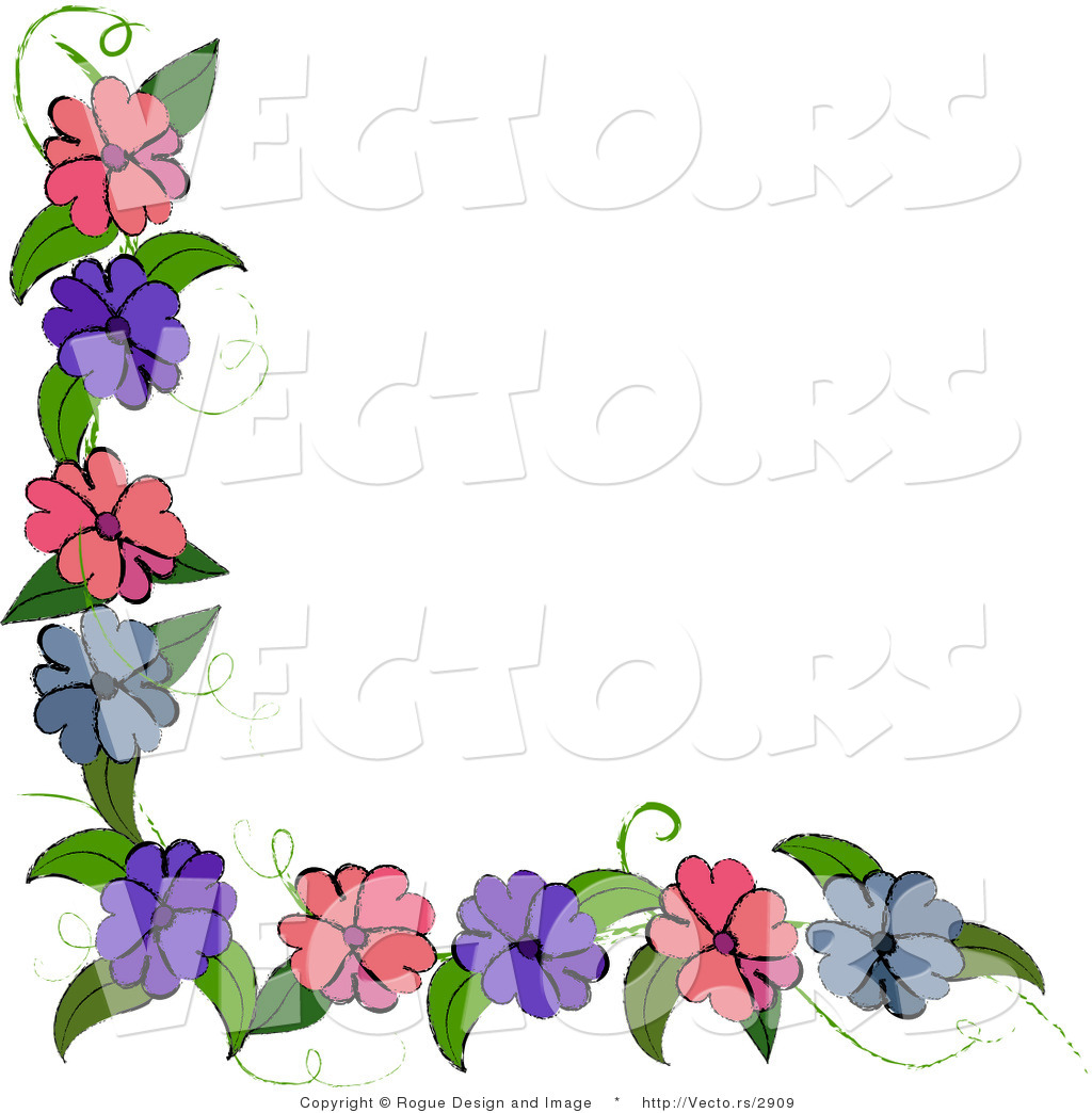 Blue And Pink Flowers On Corner Vine Design Element By Pams Clipart