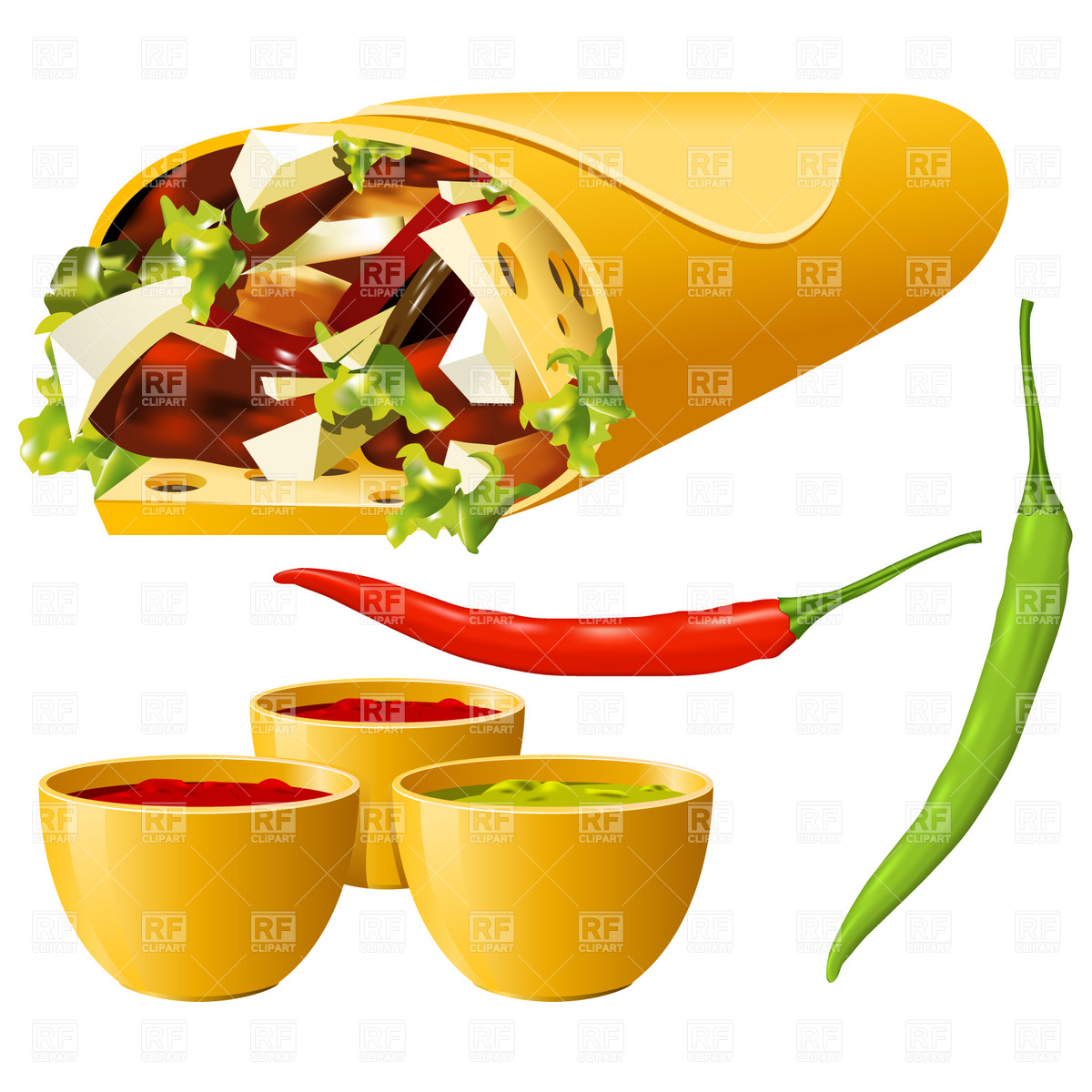 Burrito And Hot Pepper 4706 Download Royalty Free Vector Clipart