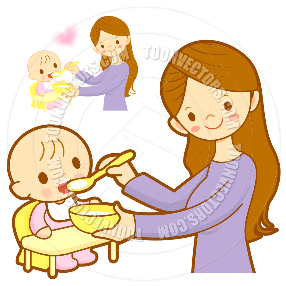 Cartoon Mother Feeding Her Baby By Boians Cho Joo Young   Toon Vectors