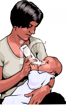 Clip Art Image  African American Woman Feeding A Bottle To Her Baby