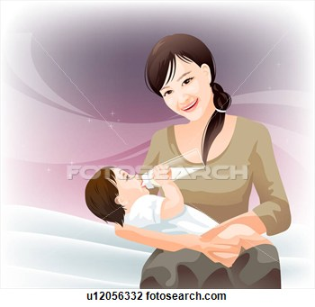 Clip Art   Mother Feeding Baby  Fotosearch   Search Clipart